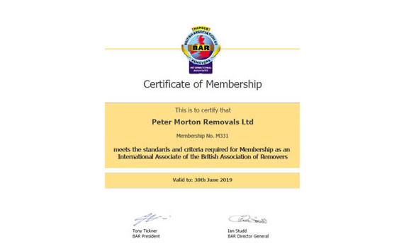Certificate of Membership Peter Morton Removals Ltd cyprus