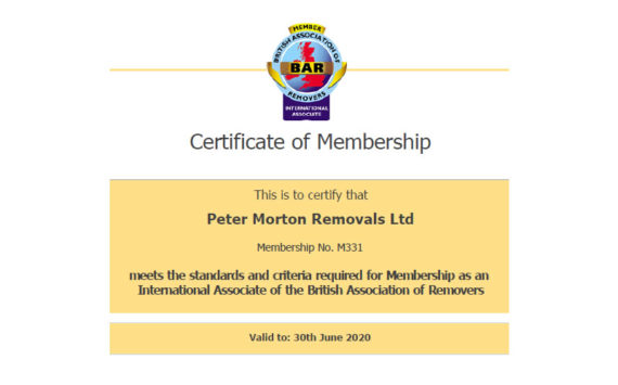 Bar Member Certificate Peter Morton Removals Ltd