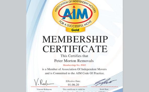 Aim membership certificate