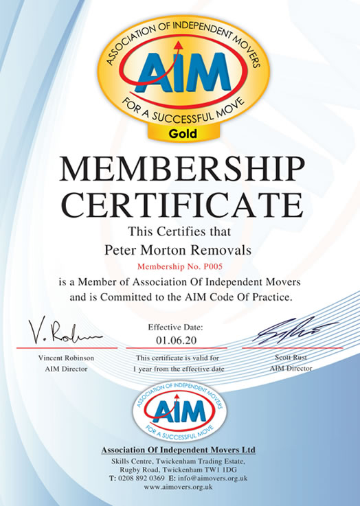 Aim Movers Certificate Peter Morton
