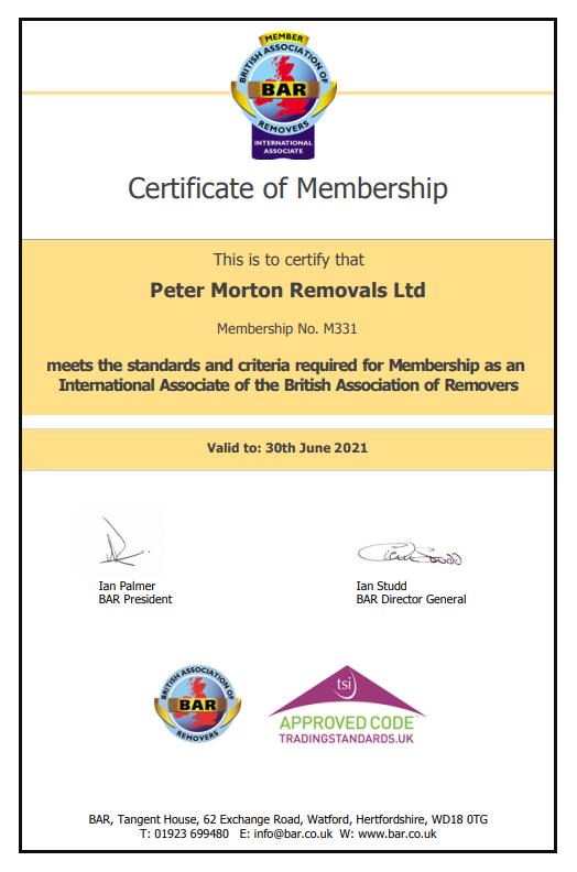 Bar Certificate Peter Morton