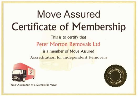Move Assured Certificate Peter Morton