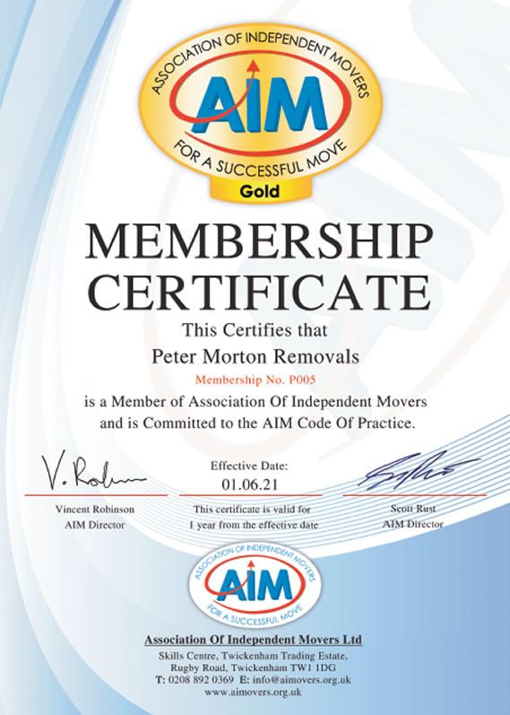 Aim Certificate Peter Morton Removals Cyprus